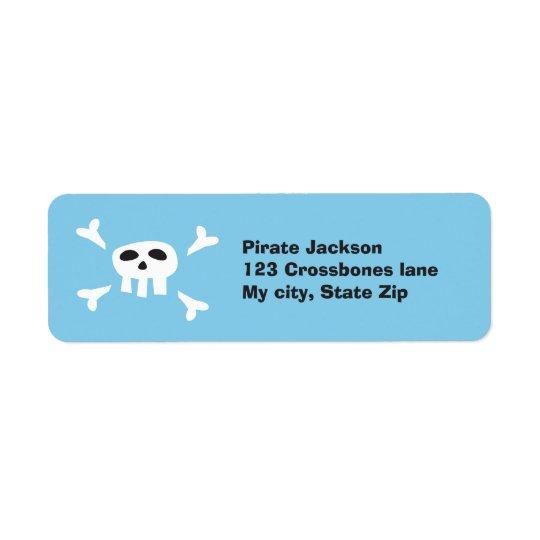 Cartoon pirate skull return address label