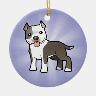 Cartoon Pitbull / American Staffordshire Terrier Round Ceramic Ornament
