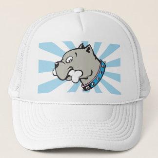 Cartoon Pitbull Head - Blue Beam Hat