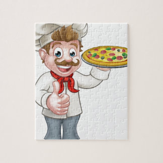 Cartoon Pizza Chef Character Mascot Jigsaw Puzzle