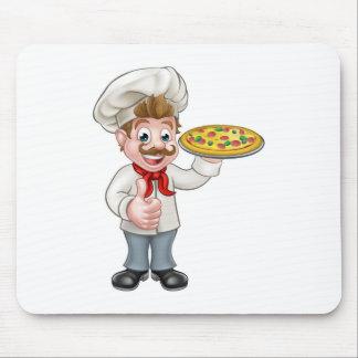 Cartoon Pizza Chef Character Mascot Mouse Pad