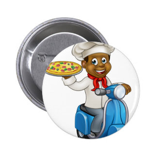 Cartoon Pizza Chef on Delivery Moped Scooter 2 Inch Round Button