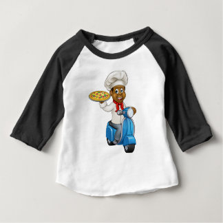 Cartoon Pizza Chef on Delivery Moped Scooter Baby T-Shirt