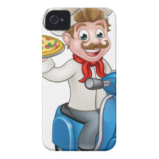 Cartoon Pizza Chef on Delivery Moped Scooter iPhone 4 Covers