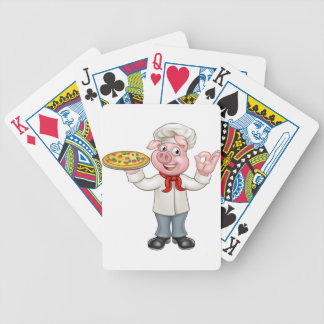 Cartoon Pizza Chef Pig Character Bicycle Playing Cards