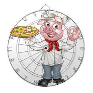 Cartoon Pizza Chef Pig Character Dartboard