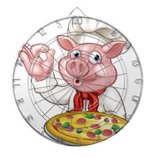 Cartoon Pizza Chef Pig Character Mascot Dartboard