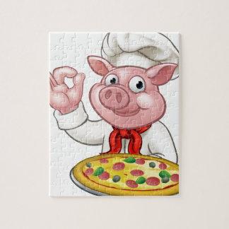 Cartoon Pizza Chef Pig Character Mascot Jigsaw Puzzle