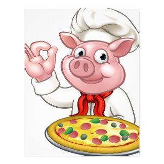 Cartoon Pizza Chef Pig Character Mascot Letterhead