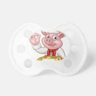 Cartoon Pizza Chef Pig Character Mascot Pacifier