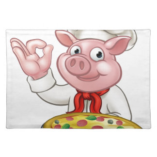 Cartoon Pizza Chef Pig Character Mascot Placemat
