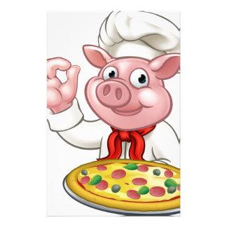 Cartoon Pizza Chef Pig Character Mascot Stationery