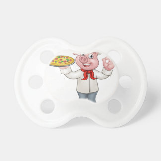 Cartoon Pizza Chef Pig Character Pacifier