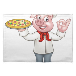Cartoon Pizza Chef Pig Character Placemat