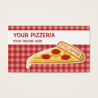 Cartoon Pizza Slice Pizzeria Business Card