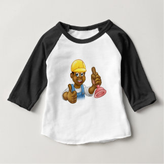 Cartoon Plumber Handyman Holding Punger Baby T-Shirt