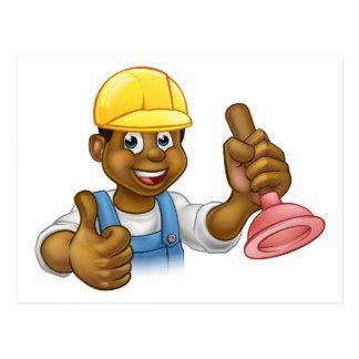 Cartoon Plumber Handyman Holding Punger Postcard