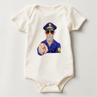 Cartoon Police Man Pointing Baby Bodysuit