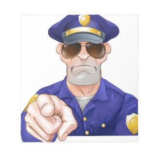 Cartoon Police Man Pointing Notepad
