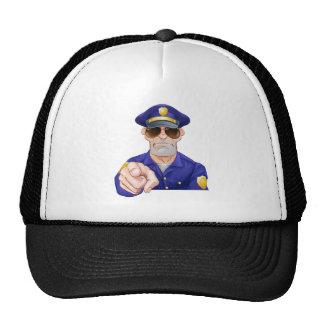 Cartoon Police Man Pointing Trucker Hat