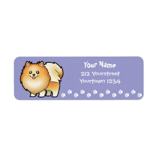 Cartoon Pomeranian Return Address Label