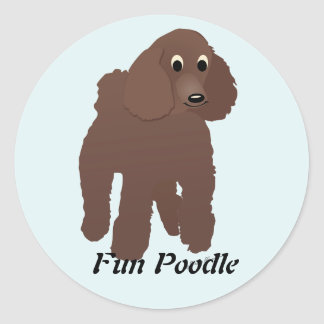 Cartoon Poodle 3 Classic Round Sticker