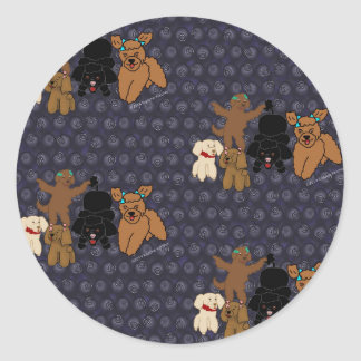 Cartoon Poodles and Blueberries Print Round Sticker