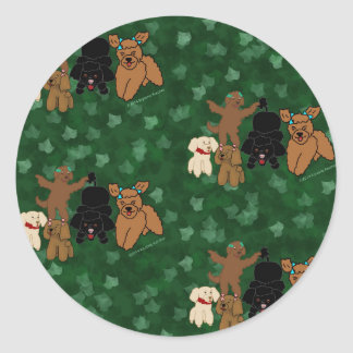 Cartoon Poodles and Ivy on Green Round Sticker