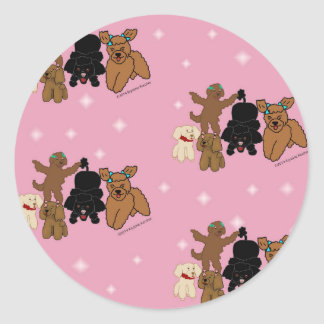 Cartoon Poodles and Stars on Pink Print Round Sticker