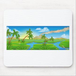 Cartoon Prehistoric Background Scene Landscape Mouse Pad