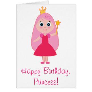 Cartoon Princess Happy Birthday Card