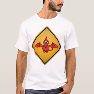 Cartoon Pterodactyl Warning Sign T-Shirt
