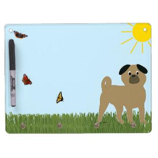 Cartoon Pug Dry Erase Board With Keychain Holder