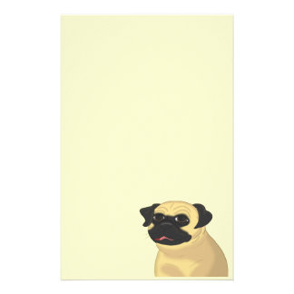 Cartoon Pug Face Personalized Stationery