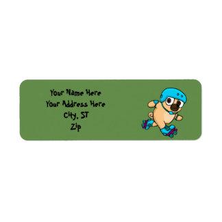 Cartoon pug on rollerblades