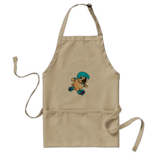 Cartoon pug on rollerblades standard apron