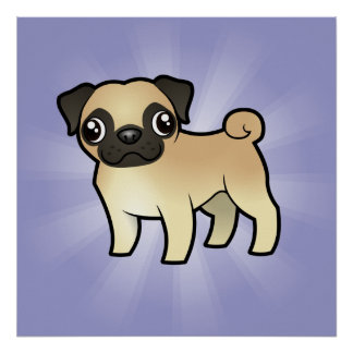 Cartoon Pug Poster