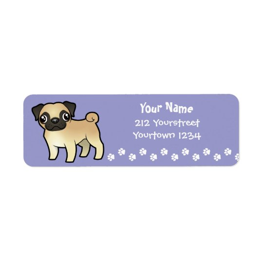 Cartoon Pug Return Address Label