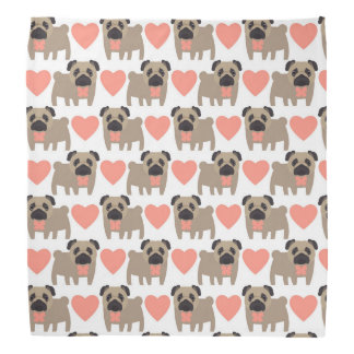 Cartoon Pugs and Hearts Bandana