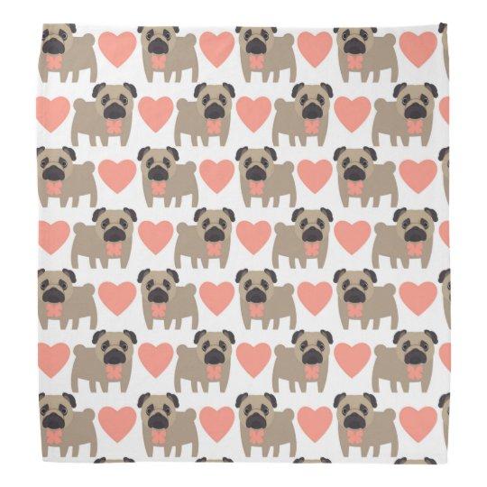 Cartoon Pugs and Hearts Kerchiefs