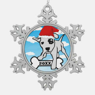 Cartoon Puppy Dog With Santa Hat Snowflake Pewter Christmas Ornament