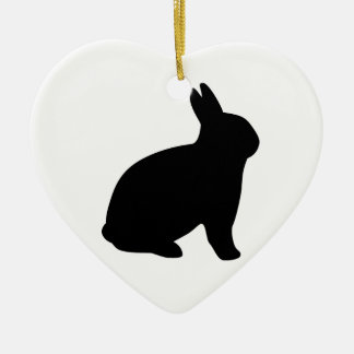 cartoon rabbit ceramic heart ornament