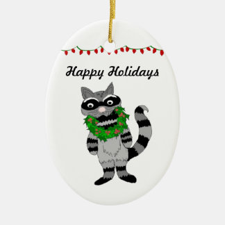 Cartoon Raccoon Decked for the Holidays Ceramic Oval Ornament
