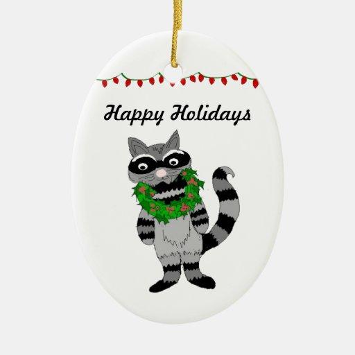 Cartoon Raccoon Decked for the Holidays Ornament