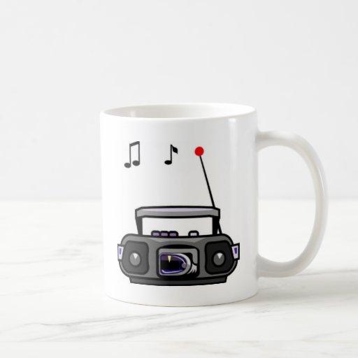 Cartoon radio playing music mug