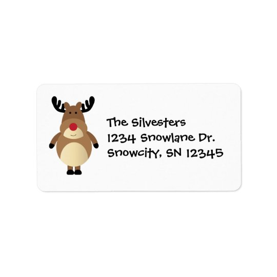 Cartoon Reindeer Holiday Address Avery Label
