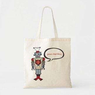 Cartoon Retro Robot Cute Kids Boy Birthday Party Tote Bag