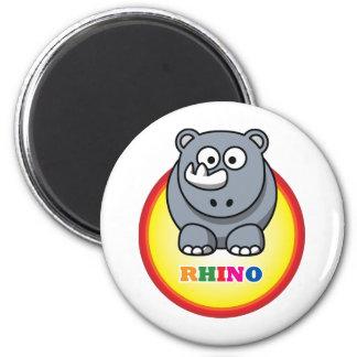 Cartoon Rhino 2 Inch Round Magnet