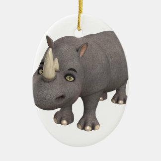 Cartoon Rhino Ceramic Oval Ornament