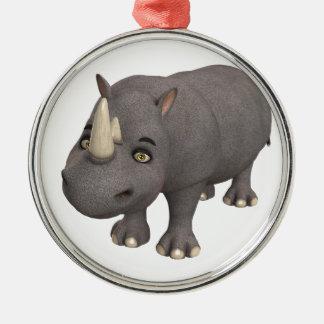 Cartoon Rhino Silver-Colored Round Ornament